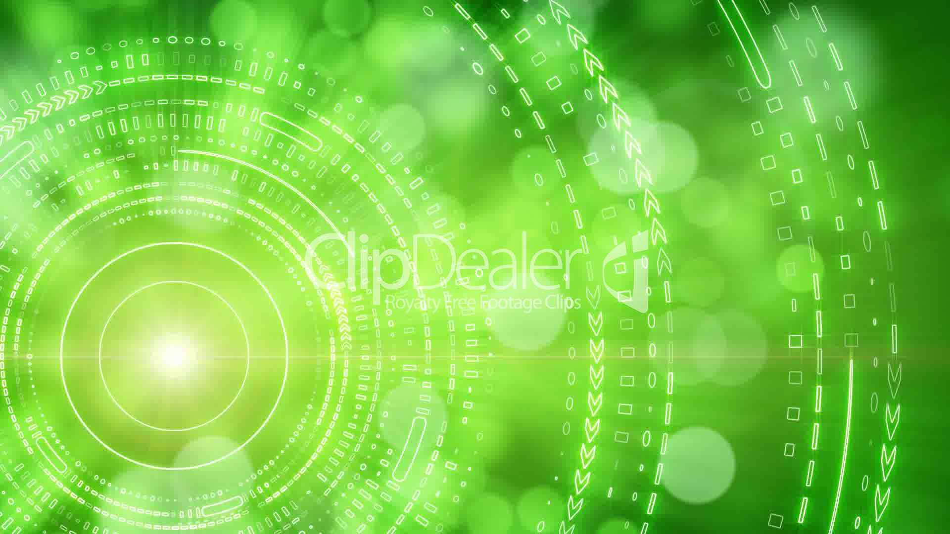 green abstract background lights and tech circles loop: Royalty-free video  and stock footage
