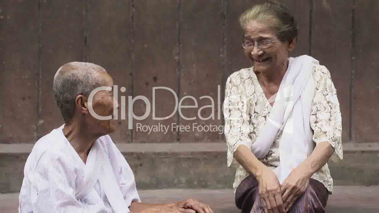 Two Old Asian Women Talking And Laughing Royalty-Free -2784