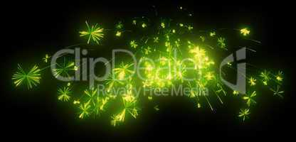 Celebration: green festive fireworks at night