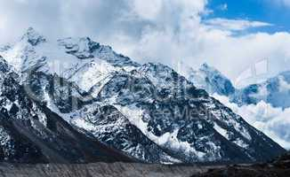 Peaks and glacier not far Gorak shep and Everest base camp