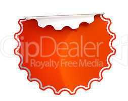 Round Red bent sticker or label