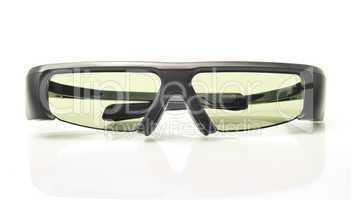 Stereo 3D TV: active shutter glasses on white