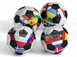 Vier Fußbälle mit den Flaggen der Rivalen der Europameisterschaft 2012 - Four isolated soccer balls with flags of european countries.