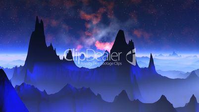 Nebula against a fantastic landscape