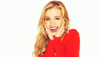 Laughing Blond With Red Lipstick