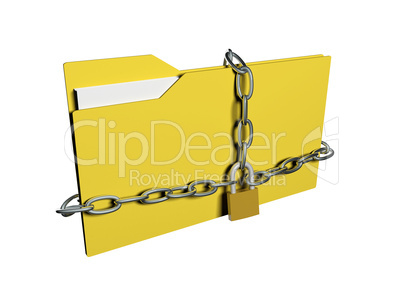Computer data security concept. Computer folder with with chain