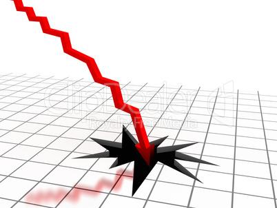 Red arrow breaking floor. Concept of bankruptcy, financial colla