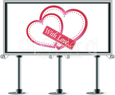 Outdoor billboard with heart. Love Vector theme