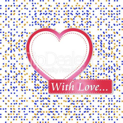 retro pastel mosaic love heart. st. valentine vector