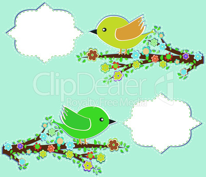 Bird with speech bubble. Vintage valentine greetings concept