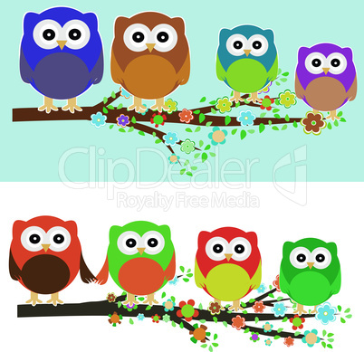 Family of owls sat on a tree branch at night and day. vector background