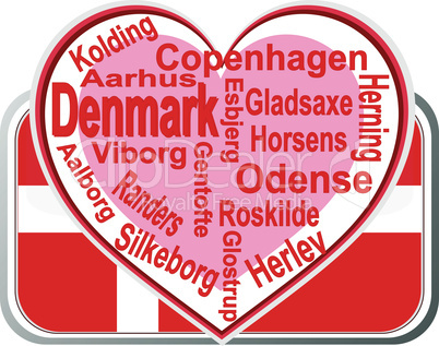 Flag and city of Denmark with love heart