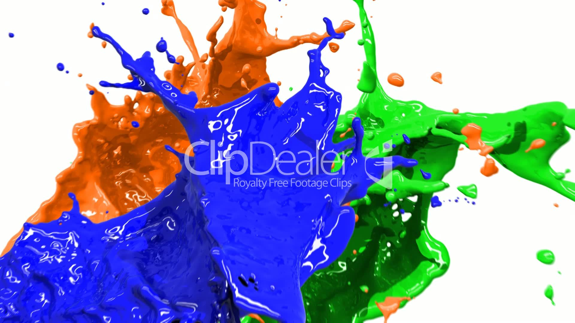 Colored Paint Splashes In Slow Motion And Freeze HD Royalty