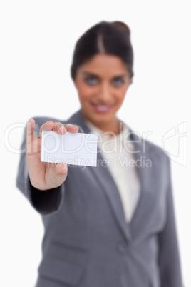 Blank business card being held by female entrepreneur