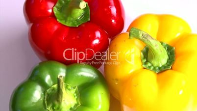 Vegetables, three-color peppers, rotate, 2 clips