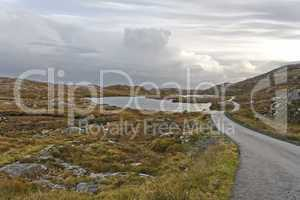 single track road on scottish isle
