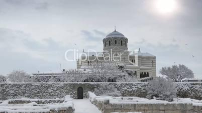 Cathedral in winter, St. Vladimir's Cathedral, Chersonese, Sevastopol, Ukraine