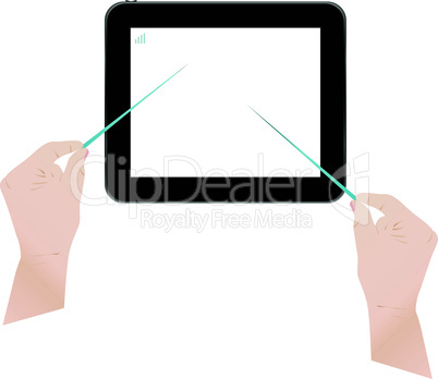 Touch screen tablet computer with man hands