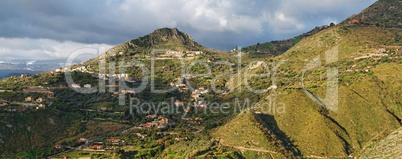 Dawn panorama of hills near Taormina  in Sicily,Italy