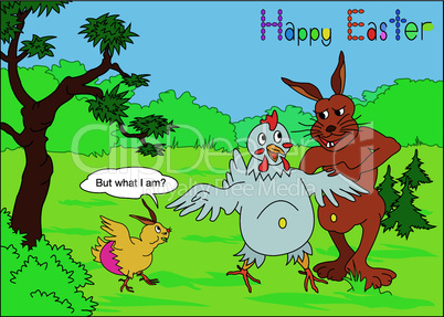 Ostern, Humor mit Hahn und Henne – Easter humor with bunny and hen