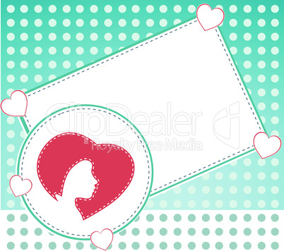 card with heart and woman head. vector invitation card