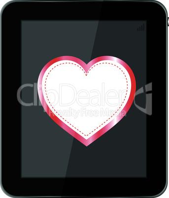 tablet pc on white background love valentine heart