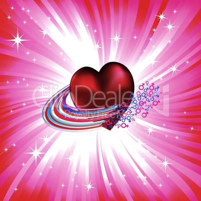 Heart love card, valentine day