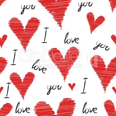 Scribble, stroke red vector heart background