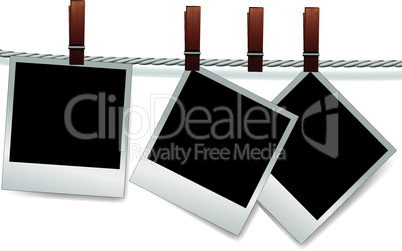 Photo snapshot frames on rope for scrap