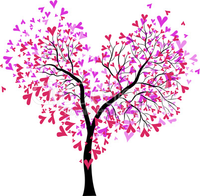Abstract vector heart tree