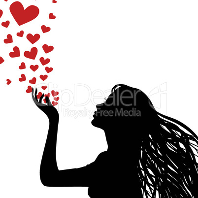 Woman silhouette hand.