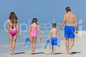 Mother, Father & Daughter Child Family Walking on Beach