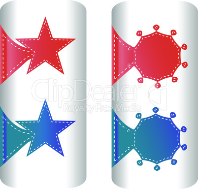 stylish colorful set of labels in the form of stars badges