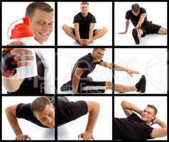 young sport man in different poses with block