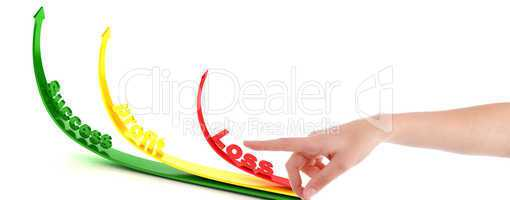 pointing hand gesture with profit and loss arrows