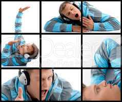 different poses of man with headphone