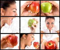 different poses of woman eating apple