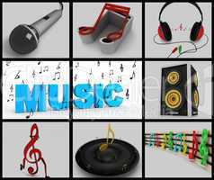 musical notes and musical equipments