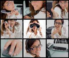 different poses of working woman
