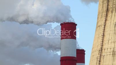 chimneys of a power station
