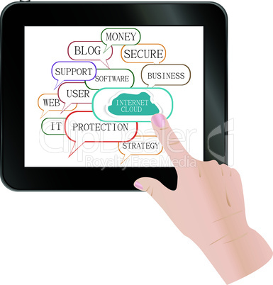 cloud computing and touch pad concept. hand touch the cloud. vector