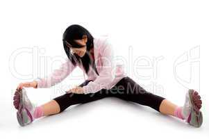 front view of exercising woman on white background