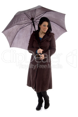 front view of woman holding umbrella on white background