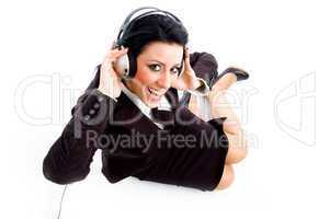 young businesswoman wearing headphone