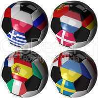 Freigestellte Fußbälle mit den Flaggen der Rivalen der Europameisterschaft - Isolated soccer ball with flags of sixteen European nations
