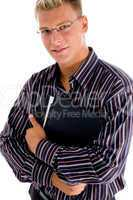 portrait young businessman with official files