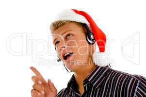 professional man providing service on occasion of christmas