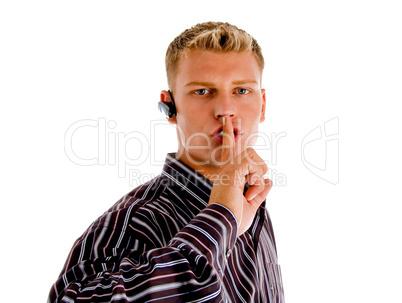 telephone operator busy on phone call