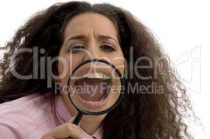 young corporate woman with magnified mouth