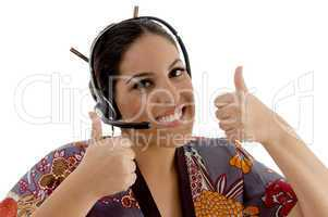 call center woman showing both thumbs up
